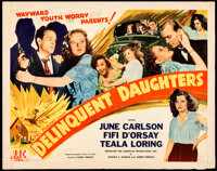 """Delinquent Daughters (PRC, 1944). Rolled, Fine. Half Sheet (22"""" X 28""""). Bad Girl"""