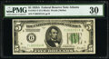 Fr. 1951-F $5 1928A Federal Reserve Note. PMG Very Fine 30