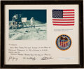 Explorers:Space Exploration, Apollo 16 Flown American Flag and Patch in a Matted and Fr...