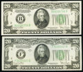Fr. 2058-B; F $20 1934D Federal Reserve Notes. Choice Crisp Uncirculated. ... (Total: 2 notes)