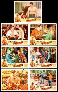 """Conflict (Realart, R-1949). Fine/Very Fine. Title Lobby Card & Lobby Cards (6) (11"""" X 14""""). Drama. ... (To..."""