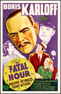 """The Fatal Hour (Monogram, 1940). Very Fine+ on Linen. One Sheet (27"""" X 41""""). Mystery"""