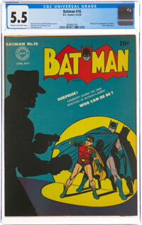 Batman #16 (DC, 1943) CGC FN- 5.5 Cream to off-white pages