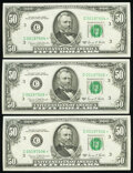 Fr. 2117-C* $50 1969C Federal Reserve Star Notes. Three Consecutive Examples. Choice Crisp Uncirculated. ... (Total: 3 n...