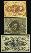 Fr. 1230 5¢ First Issue Fine; Fr. 1244 10¢ Second Issue Extremely Fine; Fr. 1255 10¢ Third Issue Extremel...