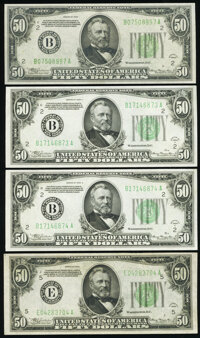 Fr. 2102-B; E $50 1934 Federal Reserve Notes. Extremely Fine-About Uncirculated; Fr. 2103-B $50 1934A Federal Reserve No...