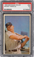 Baseball Cards:Singles (1950-1959), 1953 Bowman Color Mickey Mantle #59 PSA EX 5. It d...