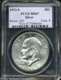 Eisenhower Dollars: , 1973-S $1 Silver MS67 PCGS. The creamy, pale silver-gold ...