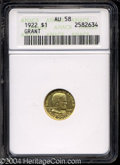Commemorative Gold: , 1922 G$1 Grant no Star AU58 ANACS. Well struck with some ...