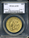 Liberty Double Eagles: , 1853 $20 AU55 PCGS. Breen-7160. The 3 in the date is ...