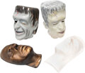 """Movie/TV Memorabilia:Costumes, Original (4) Fred Gwynne """"Herman Munster"""" masks with 2-Don Post Masks and 2-Gwynne Lifecasts (1960s). ... (Total: 4 I..."""