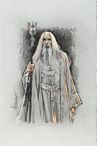 Saruman in Lord of the Rings by Drew Struzan (New Line, 2020). Near Mint. Signed Original Illustration in Pencil on P