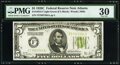 Fr. 1953-F $5 1928C Federal Reserve Note. PMG Very Fine 30