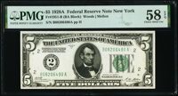 Fr. 1951-B $5 1928A Federal Reserve Note. PMG Choice About Unc 58 EPQ