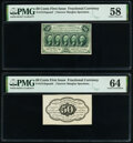 Fr. 1313SP 50¢ First Issue Narrow Margin Pair PMG Choice Aboout Unc 58; Choice Uncirculated 64. ... (Total: 2 notes...