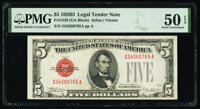 Fr. 1529 $5 1928D Legal Tender Note. PMG About Uncirculated 50 EPQ