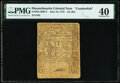 Colonial Notes:Massachusetts, Massachusetts June 18, 1776 $4 (24s) Contemporary Counterfeit PMG Extremely Fine 40.. ...