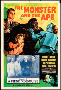 """The Monster and the Ape (Columbia, R-1956). Folded, Fine/Very Fine. One Sheet (27"""" X 41"""") & Lobby Cards (4..."""