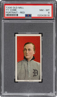 1909-11 T206 Old Mill Ty Cobb (Red Portrait) PSA NM-MT 8 - Pop One, None Higher!