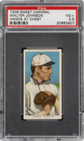 Baseball Cards:Singles (Pre-1930), 1909-11 T206 Sweet Caporal 350/30 Walter Johnson (Hands at Chest) PSA VG+ 3.5. ...