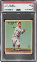 Baseball Cards:Singles (1930-1939), 1933 Goudey Hack Wilson #211 PSA EX 5. Offered is ...