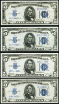 Fr. 1650 $5 1934 Silver Certificates. A-A, B-A, C-A, and D-A Blocks. Choice Crisp Uncirculated. ... (Total: 4 notes)
