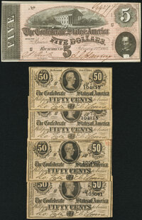 T69 $5 1864 PF- 7 Cr. 561 Very Fine; T72 50 Cents 1864 PF-1 Cr. 578 Four Examples Choice About Uncirculated or Better...