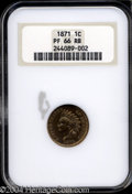Proof Indian Cents: , 1871 1C PR66 Red and Brown NGC. More Red than Brown, this ...