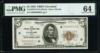 Low Serial Number 90 Fr. 1850-D $5 1929 Federal Reserve Bank Note. PMG Choice Uncirculated 64