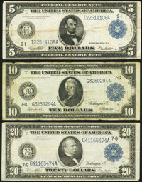 Fr. 879a $5 1914 Federal Reserve Note Very Fine; Fr. 928 $10 1914 Federal Reserve Note Fine-Very Fine; Fr. 991a $20...