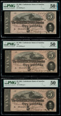 T69 $5 1864 PMG About Uncirculated 50 EPQ; About Uncirculated 50 (2). ... (Total: 3 notes)