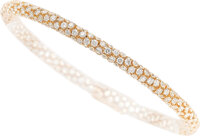 A very fine and chic 18k rose gold and diamond bracelet  Very flexible and tactile, this bracelet is paved with
