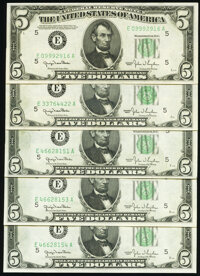 Fr. 1961-E $5 1950 Wide I Federal Reserve Notes. Five Examples. Choice Crisp Uncirculated. ... (Total: 5 notes)
