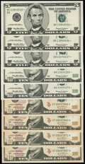 Fr. 1986-E* $5 1999 Federal Reserve Star Notes. Two Examples. Choice Crisp Uncirculated; Fr. 1987-B* $5 1999 Federal Res...