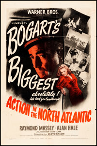 """Action in the North Atlantic (Warner Bros., 1943). Folded, Fine/Very Fine. One Sheet (27"""" X 41""""). War"""