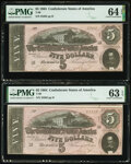 T69 $5 1864 PF-7 Cr. 561 Two Consecutive Examples PMG Choice Uncirculated 64 EPQ; Choice Uncirculated 63 EPQ. ... (Total...