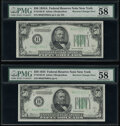 Small Size:Federal Reserve Notes, Reverse Changeover Pair Fr. 2103-B/2102-B $50 1934A /1934 Mule/Non-Mule Federal Reserve Notes. PMG Choice About Unc 58.. ... (Total: 2 notes)