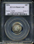 Proof Barber Dimes: , 1896 10C PR66 Cameo PCGS. Freckled mauve and apple-green ...