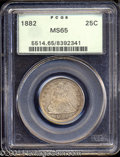 Seated Quarters: , 1882 25C MS65 PCGS. Cartwheel luster rolls across the ...