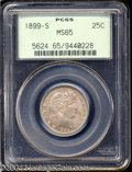 Barber Quarters: , 1899-S 25C MS65 PCGS. Dusky tan and lavender hues grace ...