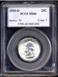 Washington Quarters: , 1935-D 25C MS66 PCGS. This lustrous and lightly toned Gem ...