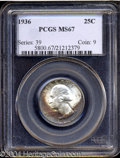 Washington Quarters: , 1936 25C MS67 PCGS. Highly lustrous and (seemingly) mark-...
