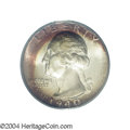 Washington Quarters: , 1940-D 25C MS67 PCGS. Bands of lilac and orange-red ...