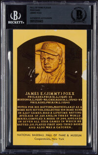 1960's Jimmie Foxx Signed Yellow Hall of Fame Plaque Postcard with Career Highlight Reference, BGS Authentic