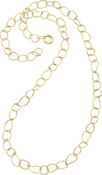 An 18k gold link sautoir necklace, Mattioli  Of round, oval and paisley shaped links, this mischeivous necklace