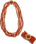 Estate Jewelry:Suites, Coral, Gold Jewelry Suite Stones: Coral beads ...