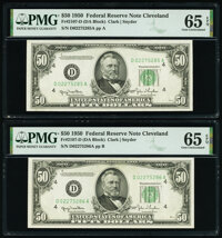 Fr. 2107-D $50 1950 Federal Reserve Notes. Two Consecutive Examples. PMG Gem Uncirculated 65 EPQ. ... (Total: 2)