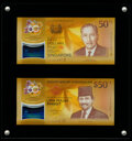 Brunei and Singapore Matching Serial Number 2017 Commemorative 50 Dollars Set with Presentation Case Crisp Uncirculated...