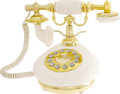 "Movie/TV Memorabilia:Props, ""Bruce Almighty"" Prop Telephone. A decorative white-and-gold tonephone used by Jim Carrey in the 2003 comedy. In Excellent ..."