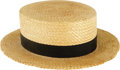"Movie/TV Memorabilia:Costumes, Bing Crosby ""Road to Morocco"" Hat. A Corti brand straw boater hat with black band, worn by Crosby in the 1942 comedy, the th..."